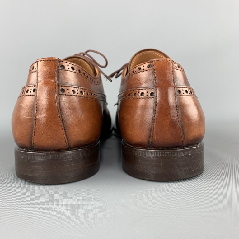 PRADA Size 10.5 Tan Leather Wingtip Lace Up Brogues For Sale 3