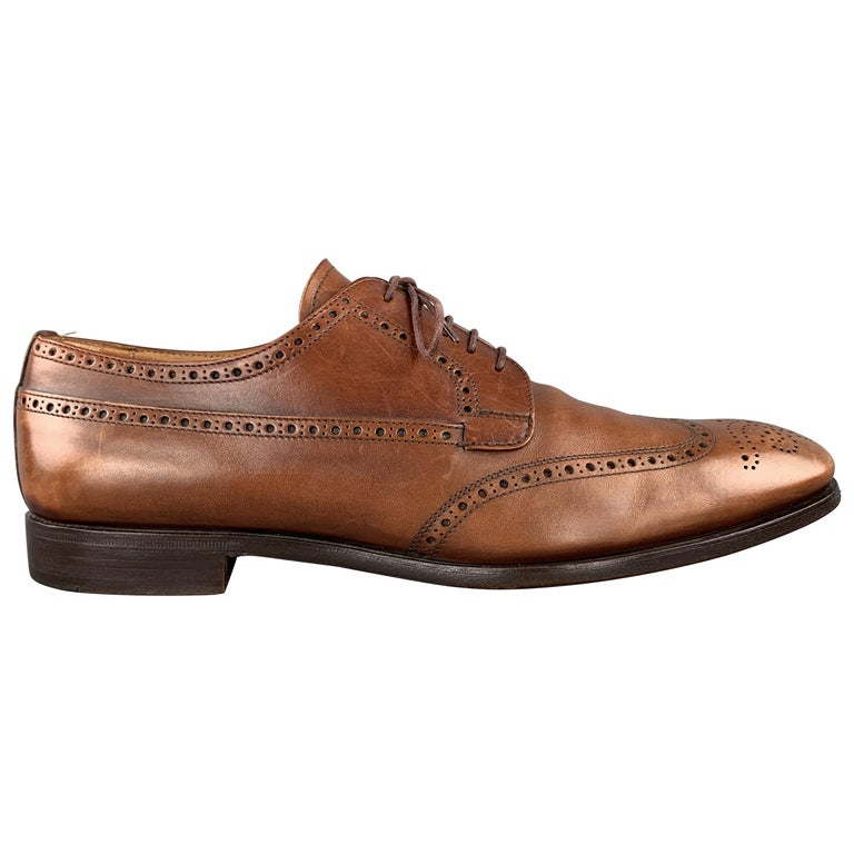 PRADA Size 10.5 Tan Leather Wingtip Lace Up Brogues For Sale