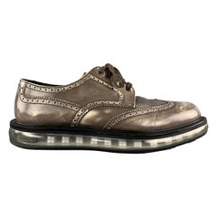PRADA Size 10.5 Taupe Antique Leather Wingtip Lace Up Shoes