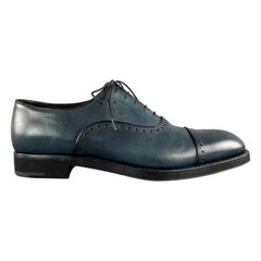 PRADA Size 11 Blue Antique Leather Cap Toe Oxford Lace Up