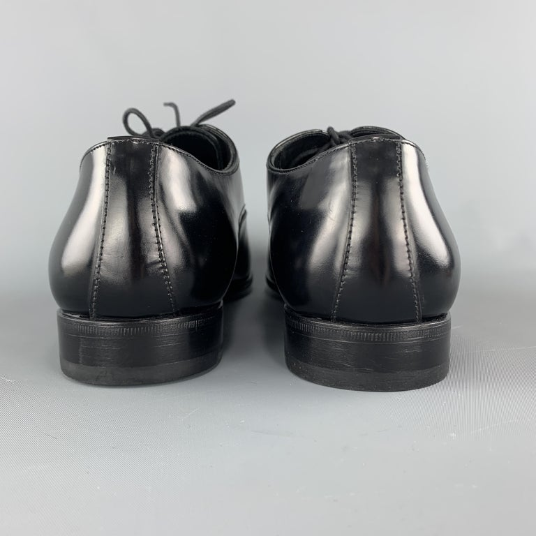 PRADA Size 11.5 Black Polished Leather Pointed Lace Up Dress Shoe For Sale 1