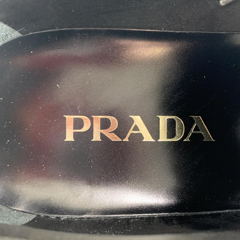 PRADA Size 11.5 Black Polished Leather Pointed Lace Up Dress Shoe For Sale 3