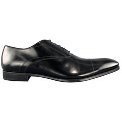 PRADA Size 11.5 Black Polished Leather Pointed Lace Up Dress Shoe