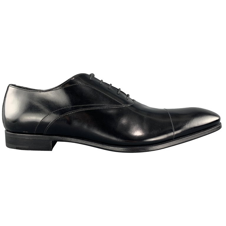 PRADA Size 11.5 Black Polished Leather Pointed Lace Up Dress Shoe For Sale