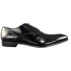 PRADA Size 11.5 Black Polished Leather Pointed Lace Up Dress Shoe