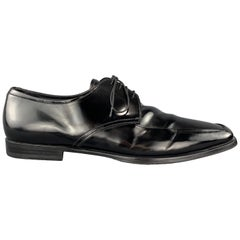 PRADA Size 12.5 Black Leather Apron Toe Lace Up