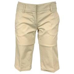 PRADA Size 2 Beige Cotton Blend Bermuda Shorts
