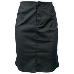 PRADA Size 2 Black Cotton Blend Flounce Skirt