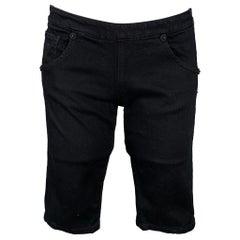 PRADA Size 2 Black Cotton Blend Side Zipper Shorts