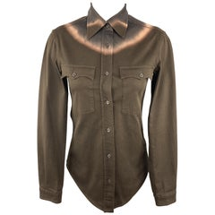 PRADA Size 2 Brown Tie Die Western Shirt Blouse