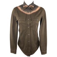 PRADA Size 2 Brown Tie Die Western Shirt Blouse