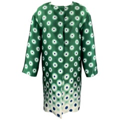 PRADA Size 2 Green Twill Dot Print Silk / Polyester Evening Coat