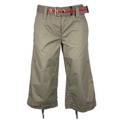 PRADA Size 2 Olive Cotton Adjustable Casual Pants
