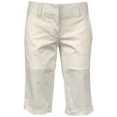 PRADA Size 2 White Cotton Blend Bermuda Shorts