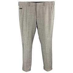 PRADA Size 30 Black & White Houndstooth Wool Button Fly Casual Pants
