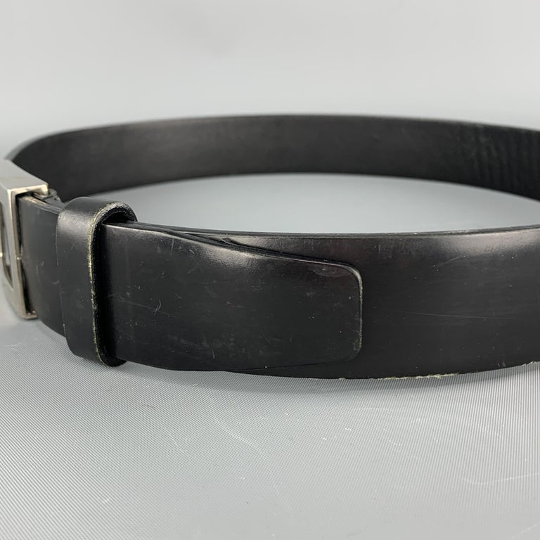 PRADA Size 32 Black Leather Silver Tone Rectangle Buckle Belt For Sale 2