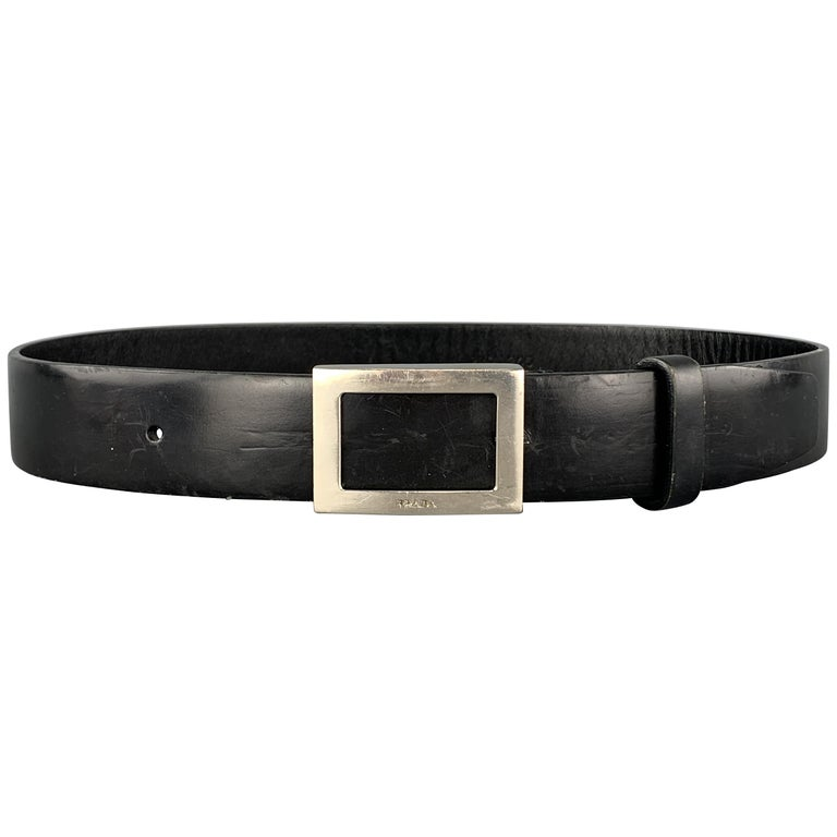 PRADA Size 32 Black Leather Silver Tone Rectangle Buckle Belt For Sale