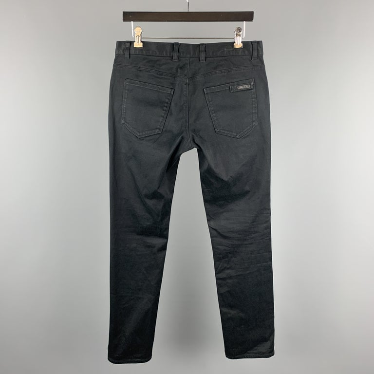 PRADA Size 32 Black Solid Cotton Blend Button Fly Jeans In Good Condition For Sale In San Francisco, CA