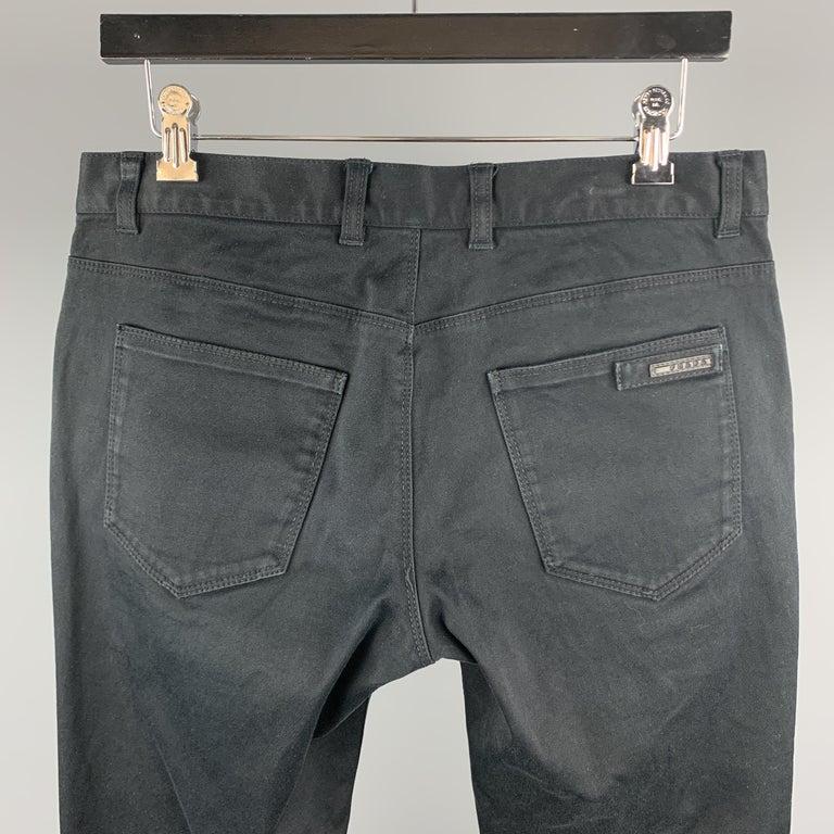 Men's PRADA Size 32 Black Solid Cotton Blend Button Fly Jeans For Sale