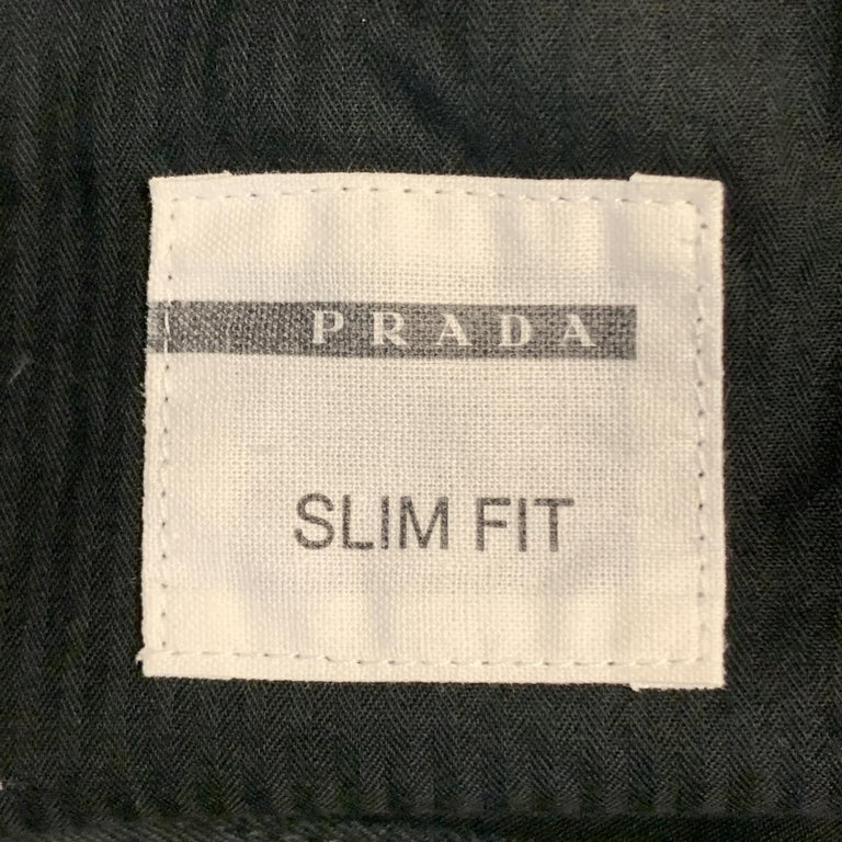 PRADA Size 32 Black Solid Cotton Blend Button Fly Jeans For Sale 2