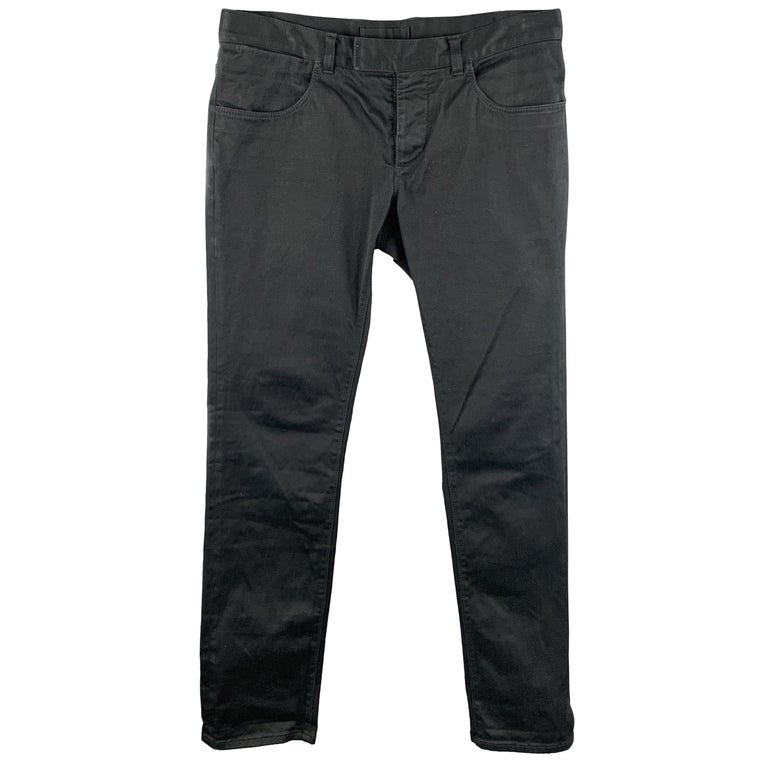 PRADA Size 32 Black Solid Cotton Blend Button Fly Jeans For Sale