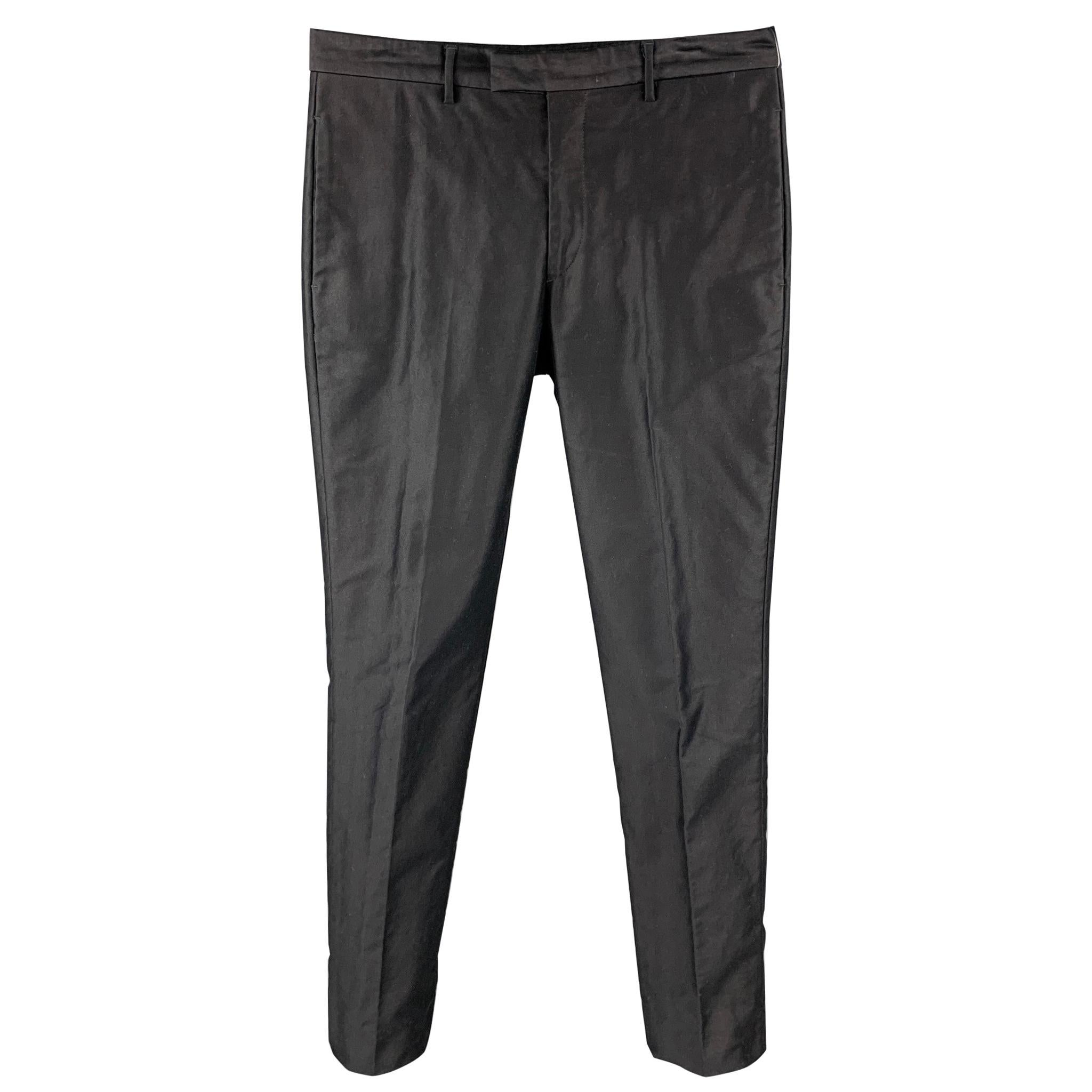 PRADA Size 32 Navy Cotton Zip Fly Dress Pants