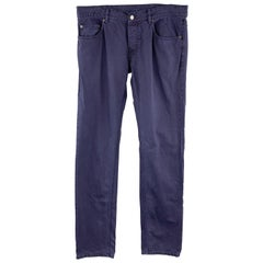 PRADA Size 33 Navy Solid Cotton Jean Cut Casual Pants