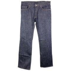 PRADA Size 33 x 34 Indigo Solid Cotton Button Fly Jeans