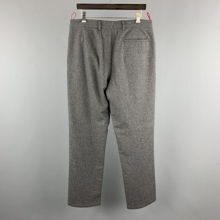 PRADA Size 34 Gray Solid Wool Blend Zip Casual Pants In Excellent Condition For Sale In San Francisco, CA
