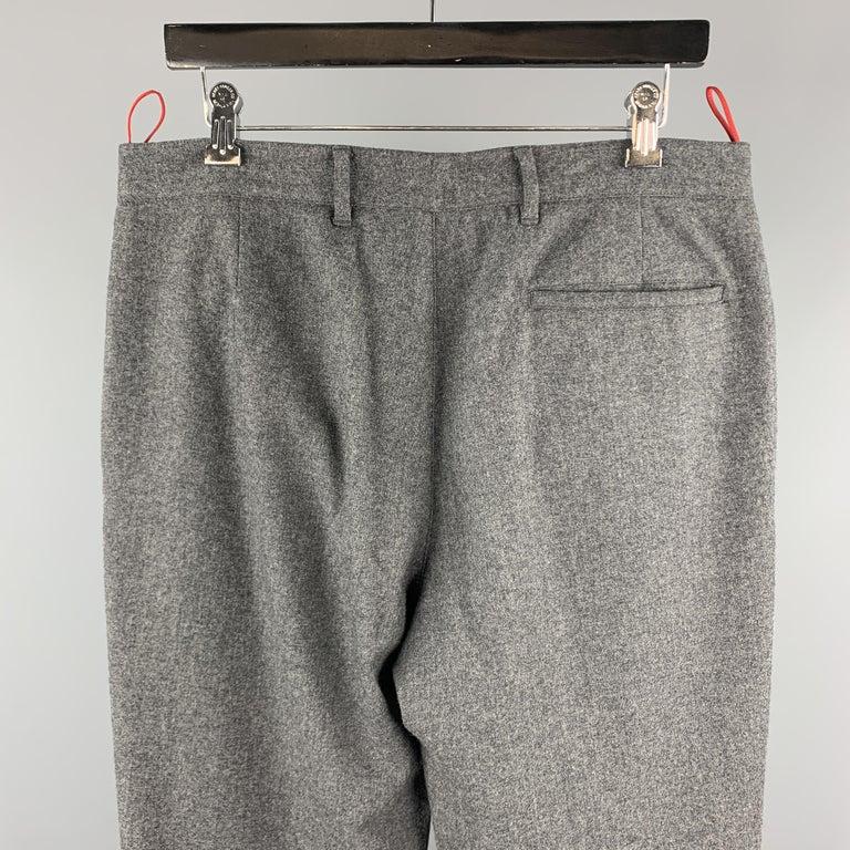 Men's PRADA Size 34 Gray Solid Wool Blend Zip Casual Pants For Sale