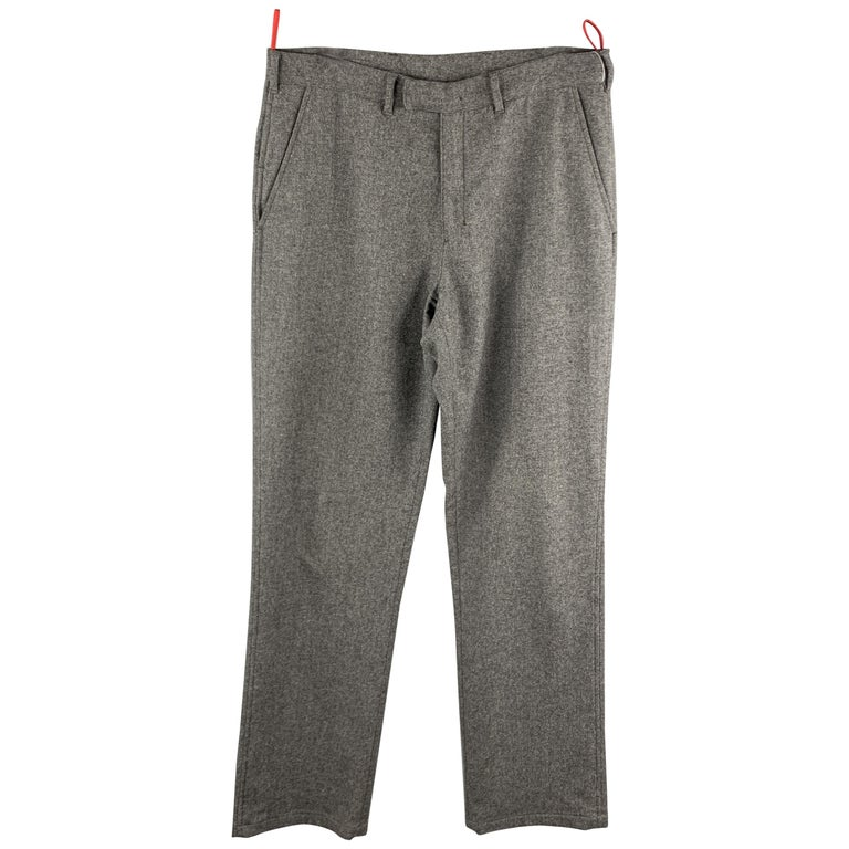 PRADA Size 34 Gray Solid Wool Blend Zip Casual Pants For Sale