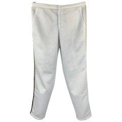 PRADA Size 34 Light Gray Mesh Polyester Drawstring Casual Pants