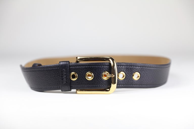 Prada Size 36 Leather Belt with Gold Hardware In Excellent Condition For Sale In Bridgehampton, NY