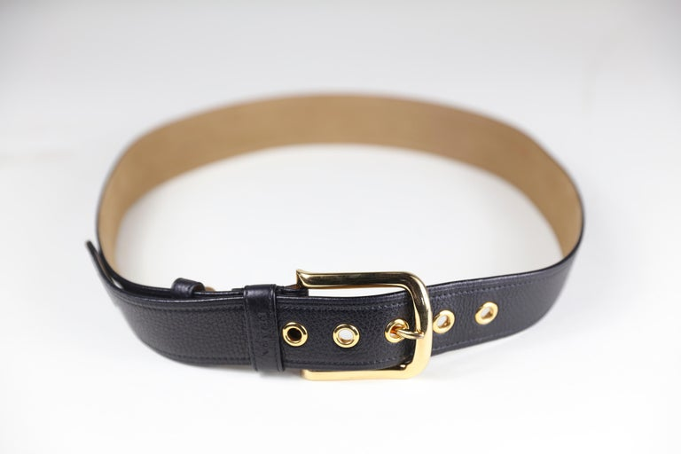 Women's Prada Size 36 Leather Belt with Gold Hardware For Sale