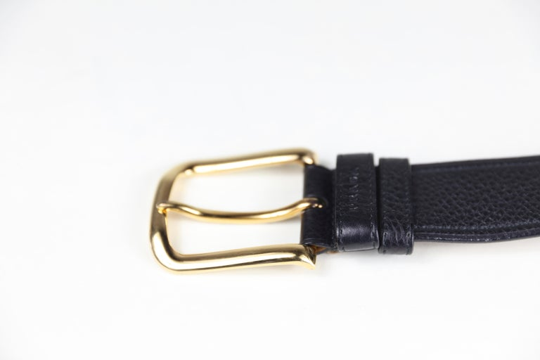 Prada Size 36 Leather Belt with Gold Hardware For Sale 1