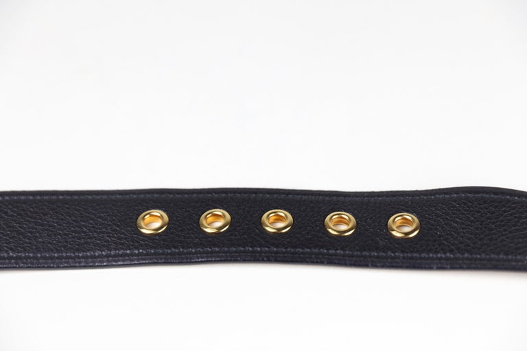 Prada Size 36 Leather Belt with Gold Hardware For Sale 2