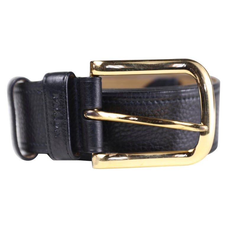 Prada Size 36 Leather Belt with Gold Hardware For Sale