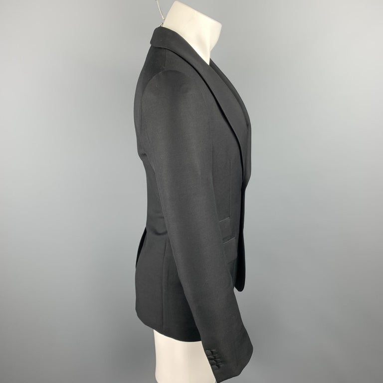 PRADA Size 36 Regular Black Solid Wool / Mohair Shawl Collar Sport Coat In Excellent Condition For Sale In San Francisco, CA