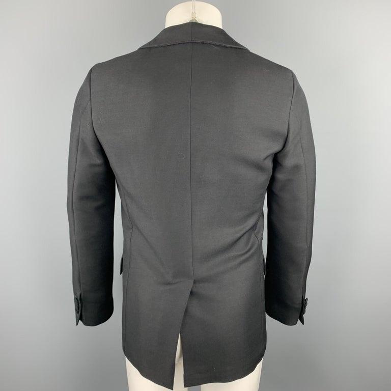 Men's PRADA Size 36 Regular Black Solid Wool / Mohair Shawl Collar Sport Coat For Sale