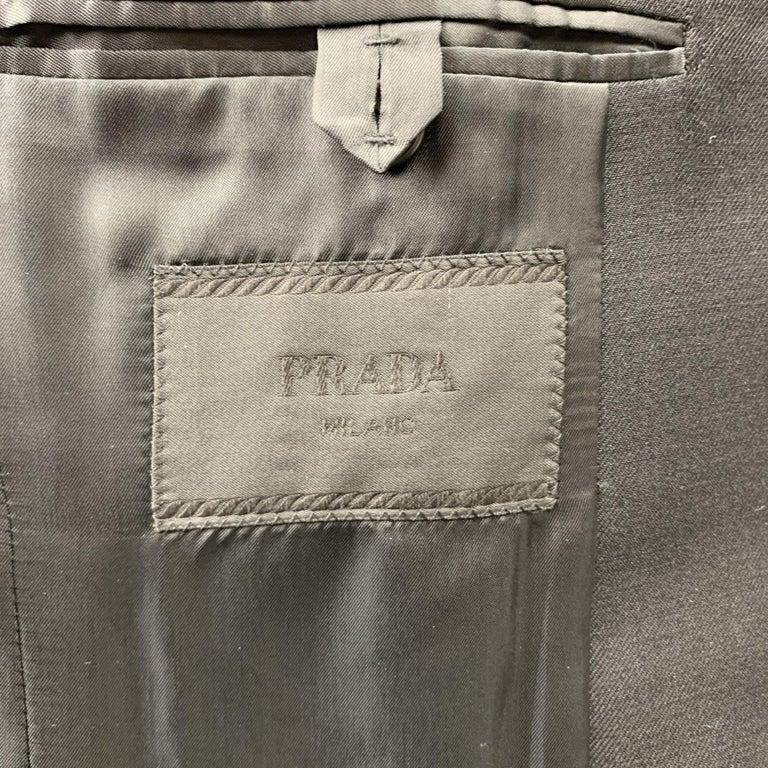PRADA Size 36 Regular Black Solid Wool / Mohair Shawl Collar Sport Coat For Sale 2