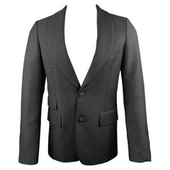 PRADA Size 36 Regular Black Solid Wool / Mohair Shawl Collar Sport Coat