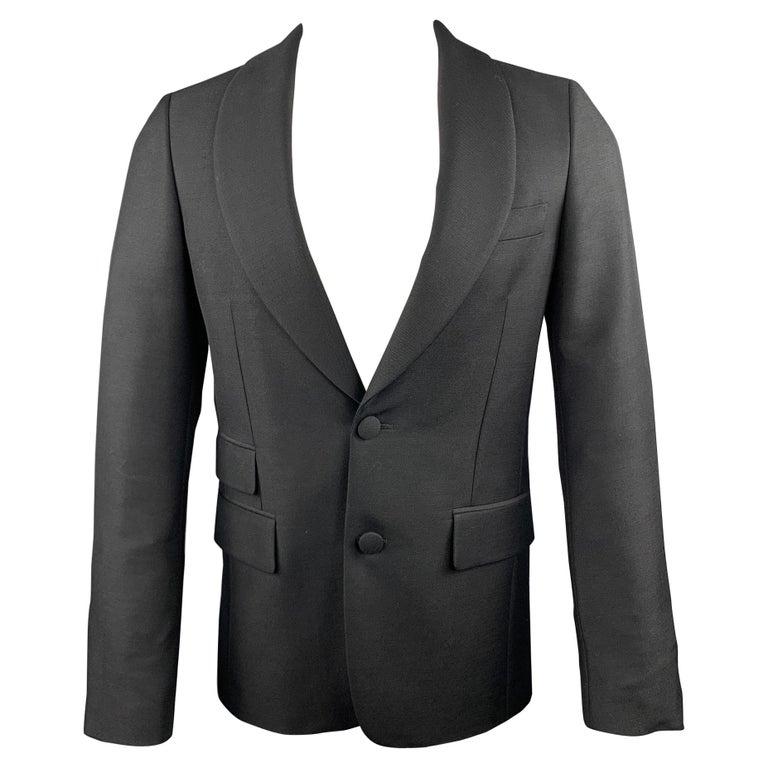 PRADA Size 36 Regular Black Solid Wool / Mohair Shawl Collar Sport Coat For Sale