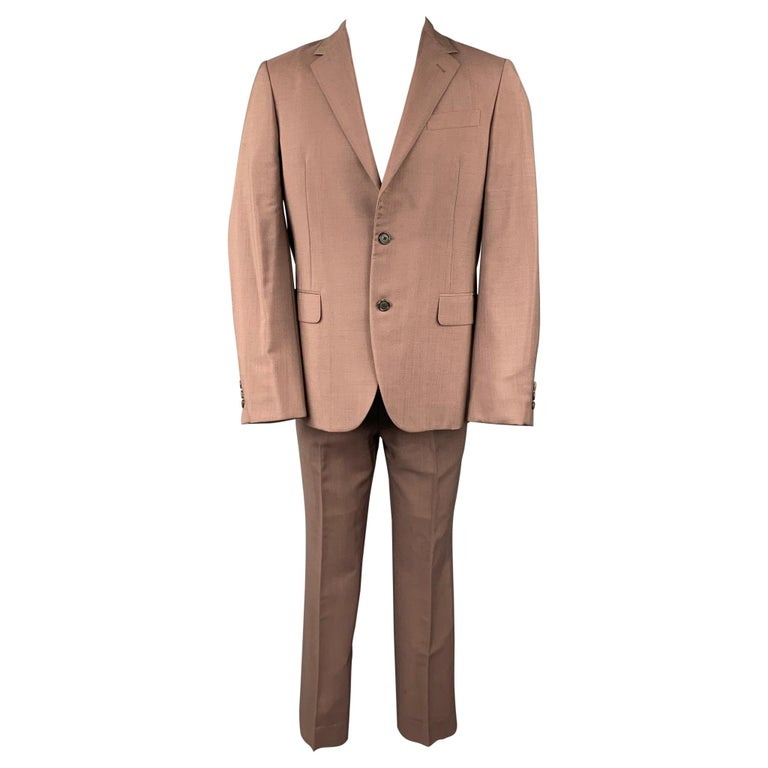PRADA Size 38 Brown Mohair / Wool Notch Lapel Suit For Sale