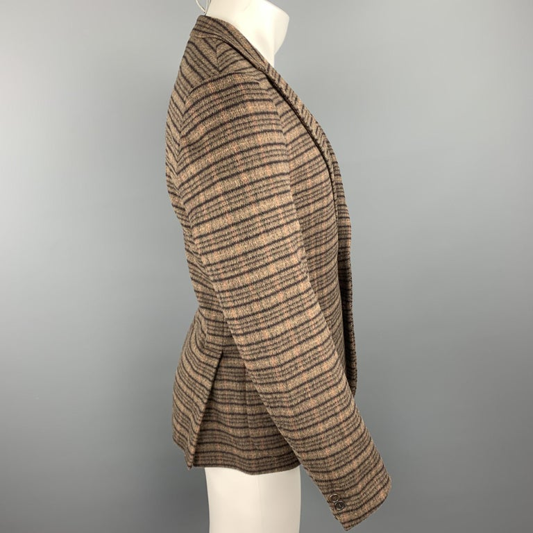 PRADA Size 38 Brown Plaid Lana Wool / Alpaca Notch Lapel Sport Coat In Excellent Condition For Sale In San Francisco, CA