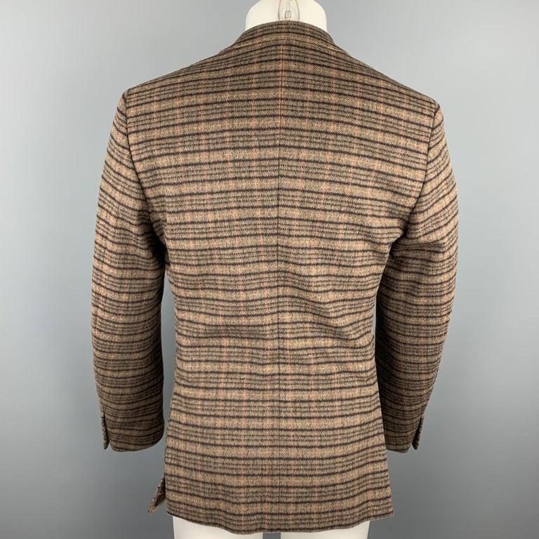 Men's PRADA Size 38 Brown Plaid Lana Wool / Alpaca Notch Lapel Sport Coat For Sale