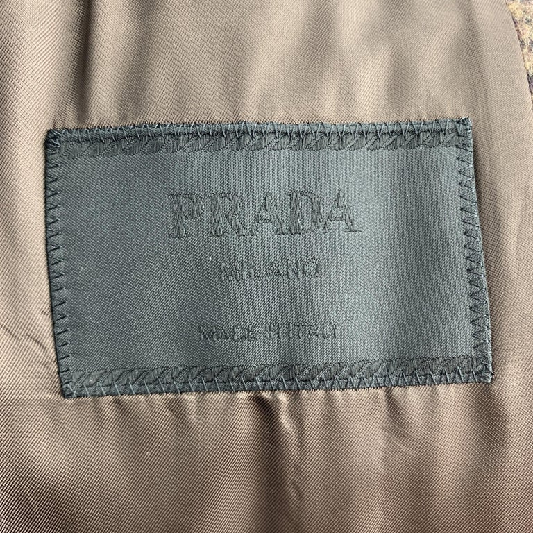 PRADA Size 38 Brown Plaid Lana Wool / Alpaca Notch Lapel Sport Coat For Sale 2