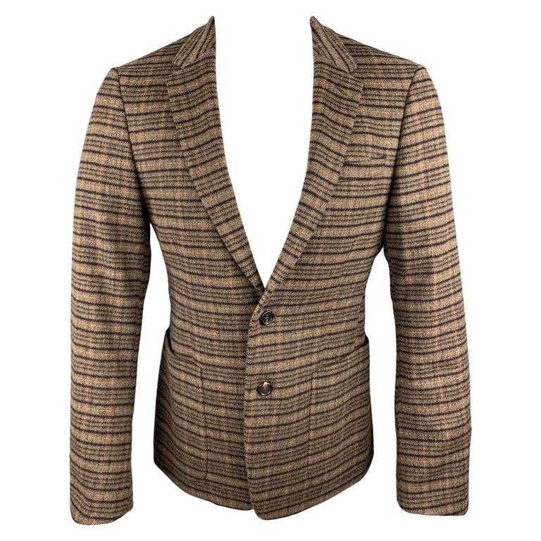 PRADA Size 38 Brown Plaid Lana Wool / Alpaca Notch Lapel Sport Coat For Sale