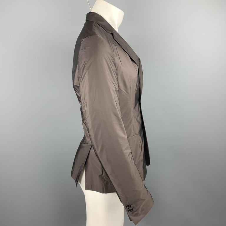 PRADA Size 38 Brown Polyester Notch Lapel Sport Coat In Excellent Condition For Sale In San Francisco, CA