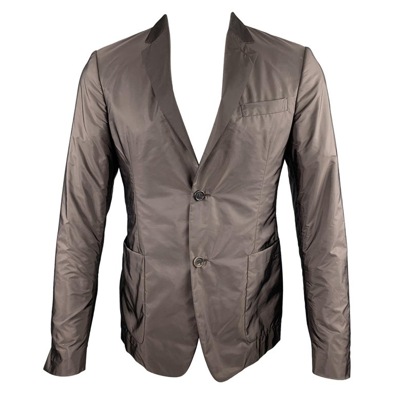 PRADA Size 38 Brown Polyester Notch Lapel Sport Coat For Sale