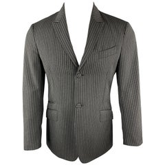 PRADA Size 38 Charcoal & Black Vertical Stripe Wool / Mohair Peak Lapel Blazer